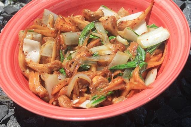 recipe, lion's mane mushroom, stir fry, vegan, vegetarian, gluten-free, bok choy, soy